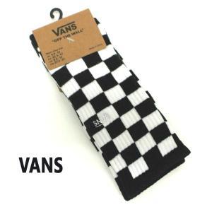 VANS/バンズ メンズ ソックス CHECKER BOARD CREW 2 SOCK スケーターソックス 男性靴下 メンズ ソックス 白黒|surfingworld