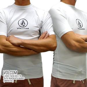 VOLCOM/ボルコム メンズ半袖ラッシュガード LIDO SOLID S/S RASHGUARD WHT UPF50+ 男性用水着 UVカット 19|surfingworld