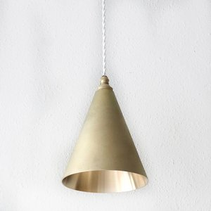 照明器具 FUTAGAMI 真鍮のペンダントランプ 鋳肌・円錐 長 削り出し仕上げ surouweb