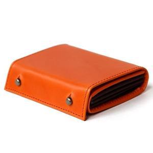 コンパクトな財布 m+ エムピウ MILLEFOGLIE2 Pig オレンジxチョコ|surouweb