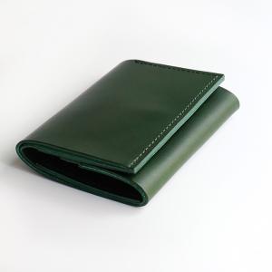 コンパクトな財布 m+ エムピウ straccio ストラッチョ ミネルバリスシオ ブッテーロ グリーン|surouweb