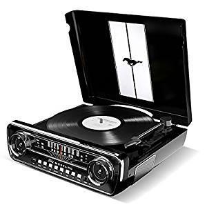 【送料無料】 ION Audio LPプレーヤー 1965年製フォード マスタング デザイン 4種再生可能 (レコード、ラジオ、USB、外部入力) Mustang LP ブラック (取寄商品)|surpriseweb