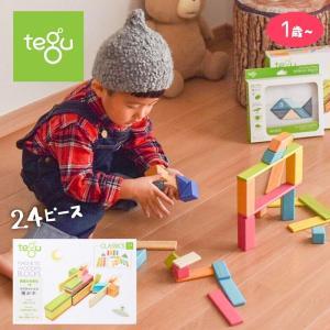 tegu テグ 磁石入り 積み木 マグネット ブロック 24ピース/ティント 知育玩具  孫 子供 プレゼント ギフト おもちゃ おしゃれ 誕生日 1歳 2歳 3歳|susabi