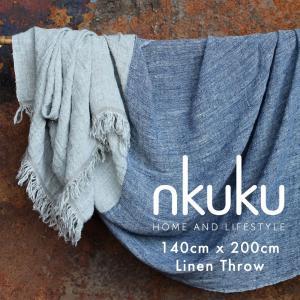 nkuku ブランケット 大判 140cm x 200cm  高級 上質 リネン ブルー おしゃれ Olu 西海岸 ネイティブ 北欧 安い 高級感 モダン キリム|susabi