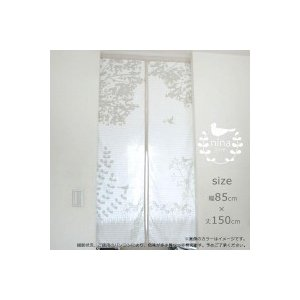 暖簾 おしゃれ デザイン 洋風柄 北欧風ガーゼのれん ニーナ W85×H150cm suteki-roseyrose
