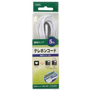 OHM テレホンコード 標準タイプ ホワイト 5m TEL-C2605W(生活家電)|suteki-roseyrose