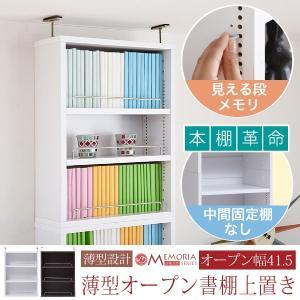 本棚 薄型 オープンラック 上置き 幅41.5 MEMORIA 棚板が1cmピッチで可動する|sutekihiroba