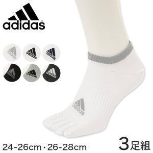 福助 adidas スニーカー5本指ソックス 3足組 24-26cm〜26-28cm (フクスケ アディダス ソックス メンズ  スポーツソックス ショート)|suteteko