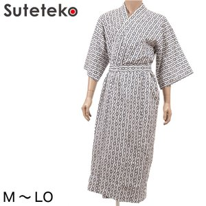 紳士 綿100% 最高級 裏ガーゼソフトおねまき M〜LO (お寝巻き 浴衣 メンズ ガーゼ 浴衣 寝間着 介護 寝間着 寝巻 綿100%) (取寄せ)|suteteko