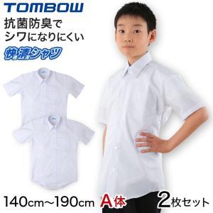 (2枚セット)スクールシャツ 男子 半袖 形態安定 カッターシャツ 学生服 トンボ 140cmA〜190cmA (中学生 小学生 制服 yシャツ ワイシャツ ノーアイロン) (取寄せ) すててこねっと
