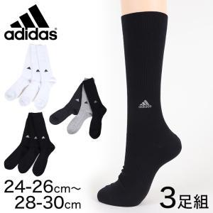 adidas クルー丈ソックス 3足組 消臭加工 24-26cm〜28-30cm (アディダス ソックス 靴下 メンズ 男 セット まとめ買い フクスケ)|suteteko