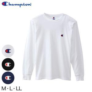 Champion メンズ クルーネック ロングスリーブTシャツ M〜LL (チャンピオン 長袖 丸首 綿混) (在庫限り) suteteko