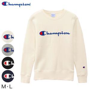 Champion レディース クルーネック スウェットシャツ M・L (ロゴプリント チャンピオン ブランド ベーシック) (在庫限り)|suteteko