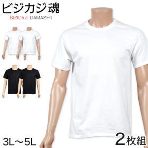 ヘインズ ビジカジ魂 クルーネックTシャツ 2枚組 3L・4L (Hanes BIZICAZI DAMASHII メンズ 綿100% 白 黒) suteteko