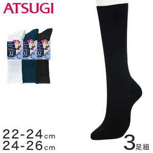 アツギ School-Time 女子中高生 スクール用 32cm丈ソックス 3足組 (22-24cm・24-26cm) (季節)