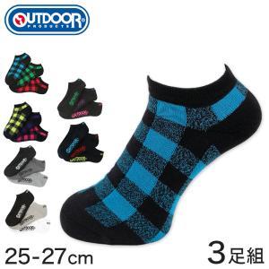 OUTDOOR PRODUCTS スニーカーソックス 3足組 25-27cm (メンズ ソックス 靴下 スニーカー丈 カジュアル 柄 3足セット アウトドアプロダクツ)|suteteko