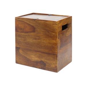 木目の色柄が楽しいシーシャムのボックスにハンドメイドの鍛鉄(ロートアイアン)で作った回転蓋を組み合わ...