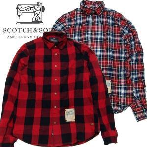 スコッチアンドソーダ メンズ Scotch&Soda 長袖 チェック シャツ RED BLUE  20059RF S-M|suxel