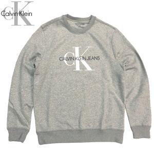 カルバンクライン Calvin Klein メンズ CK MONOGRAM LOGO CREWNECK スウェット トレーナー ストリート 長袖|suxel