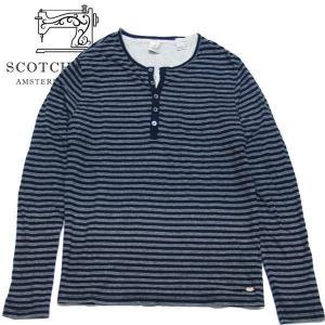 スコッチアンドソーダ メンズ Scotch&Soda tシャツ 長袖シャツ ヘンリーネック ボーダー 50007BF S|suxel