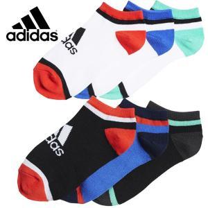 adidas アディダス キッズ くつ下 3P アンクルソックス 19-21cm 21-23cm メール便OK 1通1セットのみ|suxel