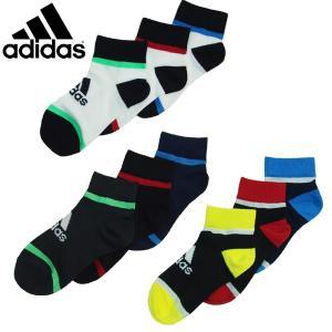 adidas アディダス キッズ くつ下 3P ショートソックス 19-21cm 21-23cm メール便OK 1通1セットのみ|suxel