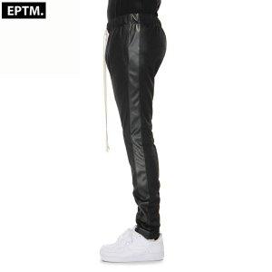 メンズ EPTM エピトミ TRACK PANTS トラックパンツ Blakc/Black Vegan Laeather |suxel