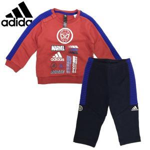 新作  adidas アディダス ベビー キッズ I MARVEL スパイダーマン スウェット上下セット 80-100cm|suxel