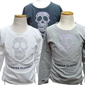 100cm K-SWISS GIRLS ケースイス キッズ Tシャツ 長袖シャツ キッズ  ロンt 女の子  管理1,900-|suxel