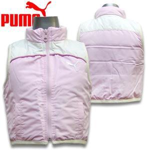 プーマ PUMA ベビー 女の子 90cm 95cm 中綿ベスト 左胸のやや大きめなプーマのワンポイント刺繍がとってもキュート|suxel