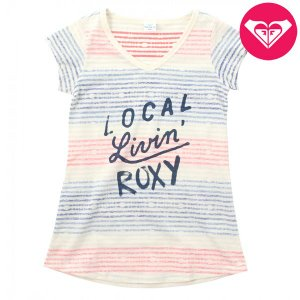 ROXY ロキシー 子供服 女の子  キッズ/ガール カラフルボーダー 半袖 TシャツMINI LOCAL LIVIN suxel