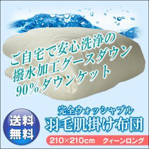 (日本製)ご家庭の洗濯機で安心して洗える 完全ウォッシャブルダウンケット(羽毛肌掛) クィーンサイズ210×210cm 撥水加工グース使用 (dk) suyasuya