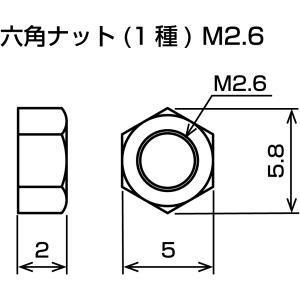 六角ナット M2.6 1種 3価クローム suzakulab