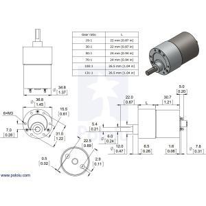 Pololu 19:1 金属ギヤードモータ 37Dx52L mm|suzakulab|03