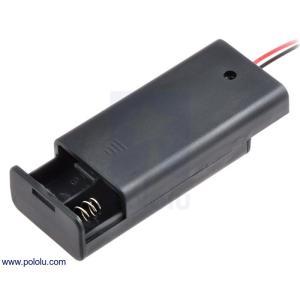 Pololu 電池ボックス 単3x2本 (フタ・スイッチ付き)|suzakulab