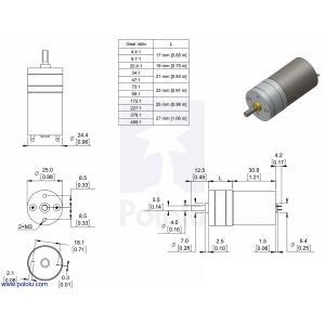 Pololu 9.7:1 金属ギヤードモータ 25Dx48L mm LP 6V|suzakulab|02