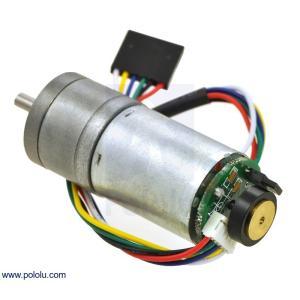 Pololu 9.7:1 金属ギヤードモータ 25Dx48L mm LP 6V 48CPRエンコーダ付き|suzakulab