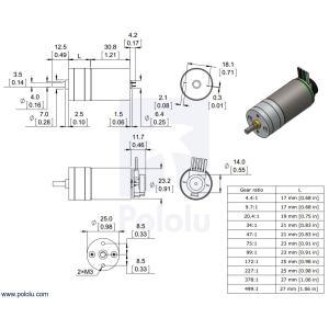 Pololu 99:1 金属ギヤードモータ 25Dx54L mm LP 6V 48CPRエンコーダ付き suzakulab 03