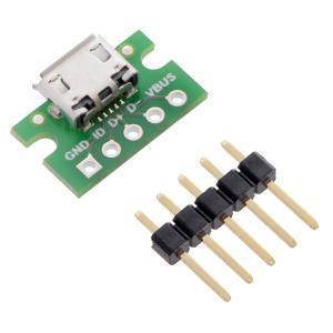 Pololu USB Micro-B コネクタブレイクアウトボード|suzakulab