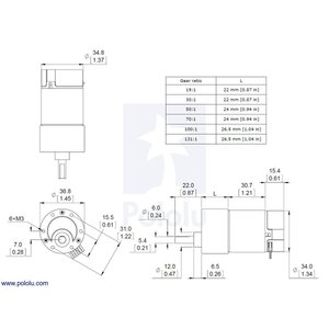 Pololu 30:1 金属ギヤードモータ 37Dx68L mm 64 CPRエンコーダ付き|suzakulab|03