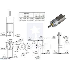 Pololu 63:1 金属ギヤードモータ 20Dx43L mm 6V suzakulab 03