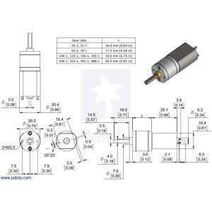 Pololu 195:1 金属ギヤードモータ 20Dx44L mm 6V CB 両軸仕様|suzakulab|14