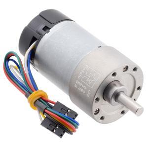 Pololu 10:1 12V金属ギヤードモータ 37Dx50L mm 12V 64CPRエンコーダ付き (ヘリカルピニオン版)|suzakulab