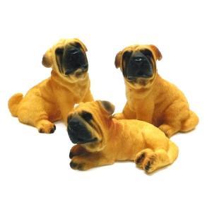 愛犬家にブルドッグ全長約5cm豆わんこ子犬の置物3匹セット(ブルドッグ)023042|suzion-line