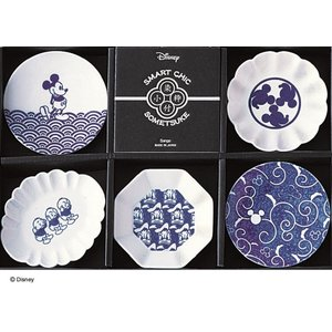 ディズニー ミッキー 豆皿5枚揃 小粋染付 |suzuhiro-2