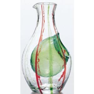 徳利 和がらす冷酒カラフェ グリーン カラフェバリエーション 氷ポケット付 とっくり 300ml 手造り suzuhiro-2