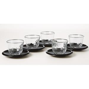 冷茶グラス  銀の月 冷茶セット 茶たく付5客セット|suzuhiro-2