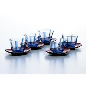 冷茶グラス 水の舞 冷茶揃 茶托付5客セット|suzuhiro-2