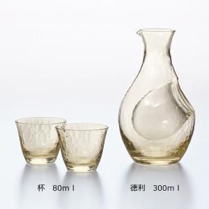サイズ:冷酒カラフェ300ml×1・杯80ml×2 セミレッドクリスタル ハンドメイド