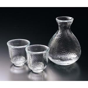 酒器 二合徳利と盃のセット 耐熱ガラス 江戸硝子かまくら |suzuhiro-2